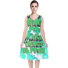 Gears Gear Interaction Act Do V Neck Midi Sleeveless Dress