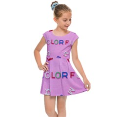 Pattern Desktop Sign Aerial Kids Cap Sleeve Dress