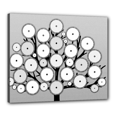 Gears Tree Structure Networks Canvas 24  X 20