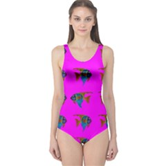 Opposite Way Fish Swimming One Piece Swimsuit
