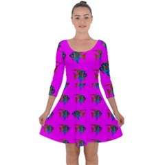 Opposite Way Fish Swimming Quarter Sleeve Skater Dress