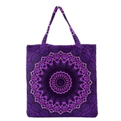 Mandala Purple Mandalas Balance Grocery Tote Bag by Sapixe