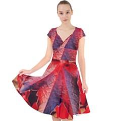 Wine Partner Wild Vine Leaves Plant Cap Sleeve Front Wrap Midi Dress by Sapixe
