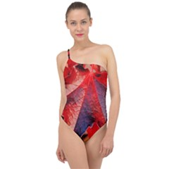 Wine Partner Wild Vine Leaves Plant Classic One Shoulder Swimsuit