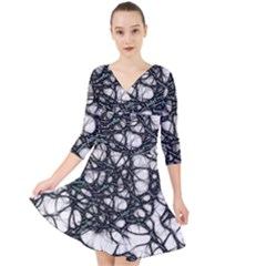 Mindset Neuroscience Thoughts Quarter Sleeve Front Wrap Dress