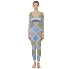 Background Paper Texture Motive Long Sleeve Catsuit