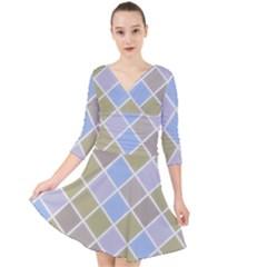 Background Paper Texture Motive Quarter Sleeve Front Wrap Dress