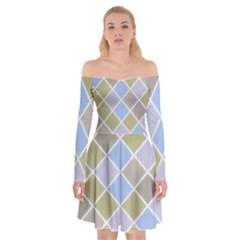 Background Paper Texture Motive Off Shoulder Skater Dress