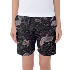 Cats On Black Seamless Pattern Art Print Clothing Women s Basketball Shorts by bloomingvinedesign