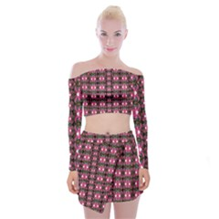 Butterflies In A Wonderful Forest Of Climbing Flowers Off Shoulder Top With Mini Skirt Set
