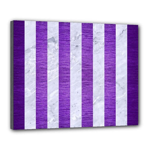 Stripes1 White Marble & Purple Brushed Metal Canvas 20  X 16