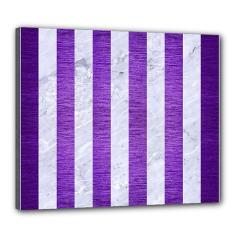 Stripes1 White Marble & Purple Brushed Metal Canvas 24  X 20