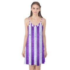 Stripes1 White Marble & Purple Brushed Metal Camis Nightgown