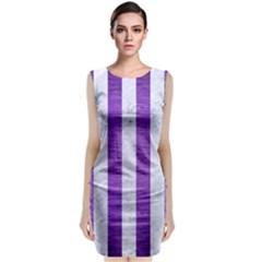 Stripes1 White Marble & Purple Brushed Metal Classic Sleeveless Midi Dress