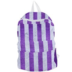Stripes1 White Marble & Purple Brushed Metal Foldable Lightweight Backpack