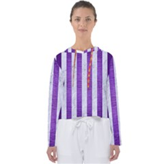 Stripes1 White Marble & Purple Brushed Metal Women s Slouchy Sweat