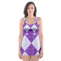 Square2 White Marble & Purple Brushed Metal Skater Dress Swimsuit