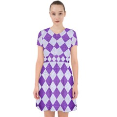 Square2 White Marble & Purple Brushed Metal Adorable In Chiffon Dress
