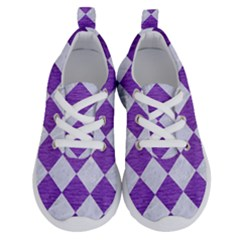 Square2 White Marble & Purple Brushed Metal Running Shoes