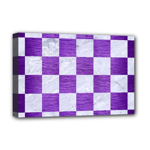 Square1 White Marble & Purple Brushed Metal Deluxe Canvas 18  X 12   by trendistuff