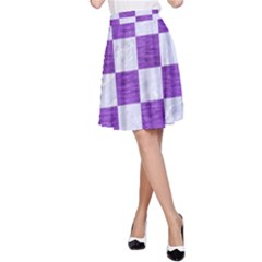 Square1 White Marble & Purple Brushed Metal A Line Skirt