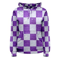Square1 White Marble & Purple Brushed Metal Women s Pullover Hoodie