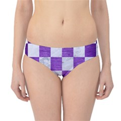 Square1 White Marble & Purple Brushed Metal Hipster Bikini Bottoms