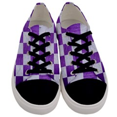 Square1 White Marble & Purple Brushed Metal Men s Low Top Canvas Sneakers