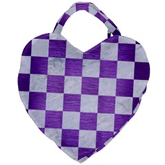 Square1 White Marble & Purple Brushed Metal Giant Heart Shaped Tote