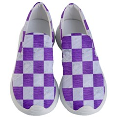 Square1 White Marble & Purple Brushed Metal Women s Lightweight Slip Ons