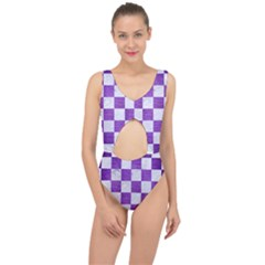 Square1 White Marble & Purple Brushed Metal Center Cut Out Swimsuit