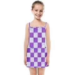 Square1 White Marble & Purple Brushed Metal Kids Summer Sun Dress