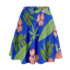 Leaves On Blue High Waist Skirt by LoolyElzayat