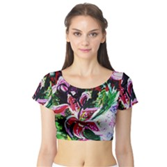Lilac And Lillies 3 Short Sleeve Crop Top