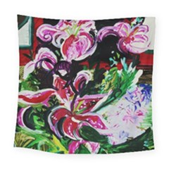 Lilac And Lillies 3 Square Tapestry (large) by bestdesignintheworld