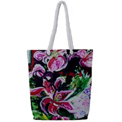 Lilac And Lillies 3 Full Print Rope Handle Tote (small)