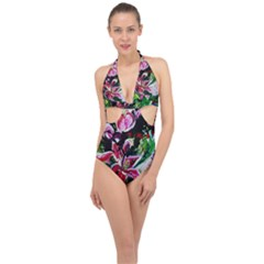 Lilac And Lillies 3 Halter Front Plunge Swimsuit