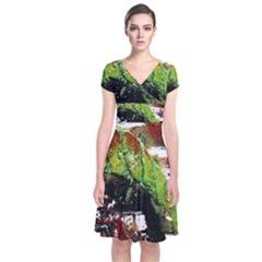Collosium   Swards And Helmets 3 Short Sleeve Front Wrap Dress