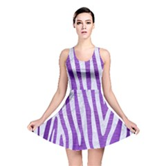 Skin4 White Marble & Purple Brushed Metal (r) Reversible Skater Dress