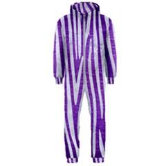 Skin4 White Marble & Purple Brushed Metal (r) Hooded Jumpsuit (men)