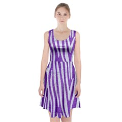 Skin4 White Marble & Purple Brushed Metal (r) Racerback Midi Dress