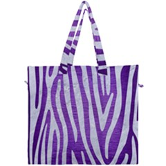 Skin4 White Marble & Purple Brushed Metal (r) Canvas Travel Bag by trendistuff