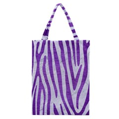 Skin4 White Marble & Purple Brushed Metal Classic Tote Bag by trendistuff