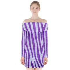 Skin4 White Marble & Purple Brushed Metal Long Sleeve Off Shoulder Dress