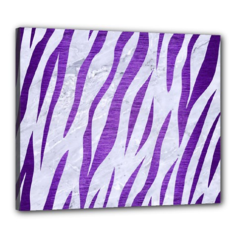 Skin3 White Marble & Purple Brushed Metal (r) Canvas 24  X 20