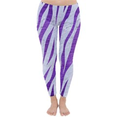 Skin3 White Marble & Purple Brushed Metal (r) Classic Winter Leggings