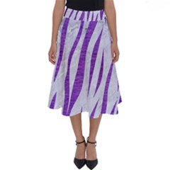Skin3 White Marble & Purple Brushed Metal (r) Perfect Length Midi Skirt by trendistuff