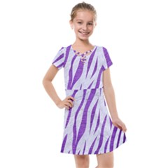 Skin3 White Marble & Purple Brushed Metal (r) Kids  Cross Web Dress