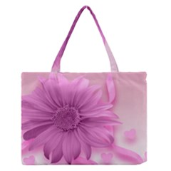Flower Design Romantic Zipper Medium Tote Bag
