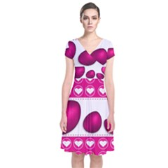 Love Celebration Easter Hearts Short Sleeve Front Wrap Dress